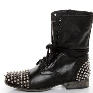 Steve Madden Leather Studded Lace-Up Combat Boots